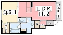 兵庫県高砂市米田町米田新外新開の賃貸アパートの間取り