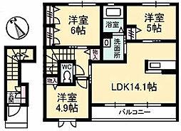 カーサ・ヴィアソーレ[2階]の間取り