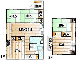 [一戸建] 福岡県北九州市小倉北区高坊1丁目 の賃貸【/】の間取り
