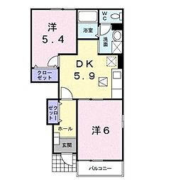 JR東海道本線 鴨宮駅 バス9分 関口川橋下車 徒歩13分の賃貸アパート 1階2DKの間取り