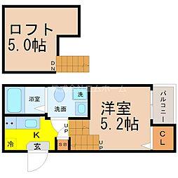 愛知県名古屋市中村区中村町6の賃貸アパートの間取り