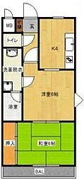 八幡パークマンション[3階]の間取り