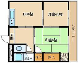 大阪府堺市西区浜寺諏訪森町東1丁の賃貸マンションの間取り