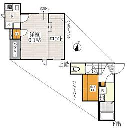 JR鹿児島本線 田代駅 徒歩10分の賃貸アパート 2階1SKの間取り