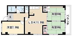 愛知県名古屋市緑区神沢3丁目の賃貸アパートの間取り