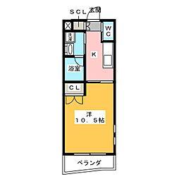 MTマンション 1階1Kの間取り