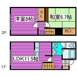 北海道札幌市北区太平一条1丁目の賃貸アパートの間取り