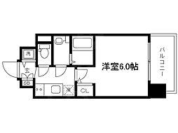 Osaka Metro谷町線 天神橋筋六丁目駅 徒歩4分の賃貸マンション 6階1Kの間取り
