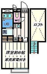 東京都葛飾区高砂8丁目の賃貸アパートの間取り