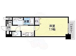 Osaka Metro谷町線 南森町駅 徒歩7分の賃貸マンション 15階1Kの間取り