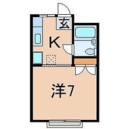 0361第二若葉荘[203号室]の間取り