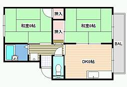 プレジールF[2階]の間取り