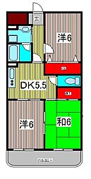 ガーデンハウス塚越 4階3DKの間取り