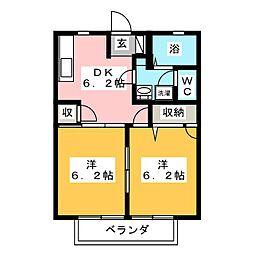 ディアコート大崎 A棟[2階]の間取り