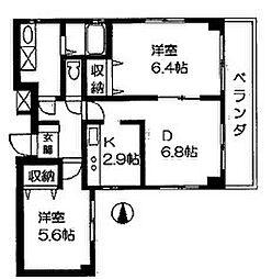 神奈川県横浜市中区麦田町2丁目の賃貸マンションの間取り