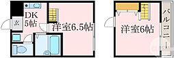 Osaka Metro谷町線 都島駅 徒歩4分の賃貸マンション 2階2Kの間取り