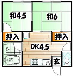 福岡県北九州市八幡西区大浦1丁目の賃貸アパートの間取り