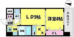 WOB京橋 4階1LDKの間取り
