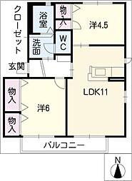 エスポワールI[2階]の間取り