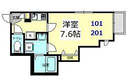 グランドールLaLa横浜[201号室号室]の間取り