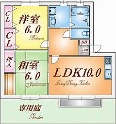 兵庫県神戸市須磨区行幸町2丁目の賃貸アパートの間取り