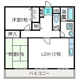 大阪府高槻市真上町2丁目の賃貸マンションの間取り