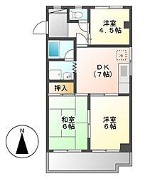 マンションオークラ[1階]の間取り