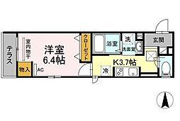 OKUE II 1階1Kの間取り
