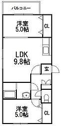 北海道札幌市豊平区平岸四条9丁目の賃貸マンションの間取り