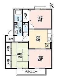 福岡県北九州市小倉南区朽網東2丁目の賃貸アパートの間取り