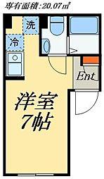 JR総武線 浅草橋駅 徒歩7分の賃貸マンション 2階ワンルームの間取り