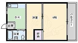 松本マンション 3階2DKの間取り