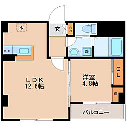 仙台市地下鉄東西線 大町西公園駅 徒歩9分の賃貸マンション 2階1LDKの間取り