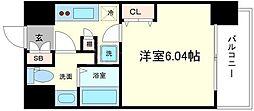 パークヒルズ難波南haneul 8階1Kの間取り