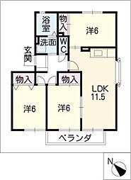 ハートホーム山本B・C・D棟[2階]の間取り