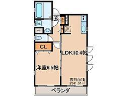 京都府京都市伏見区鳥羽町の賃貸アパートの間取り