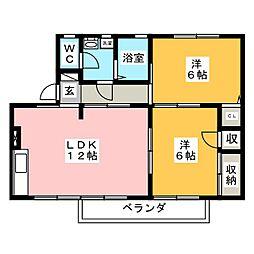 メゾン西沢 B棟[2階]の間取り