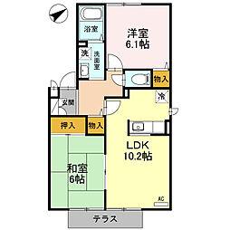 兵庫県姫路市飯田1の賃貸アパートの間取り