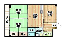 福岡県北九州市小倉北区井堀3丁目の賃貸マンションの間取り