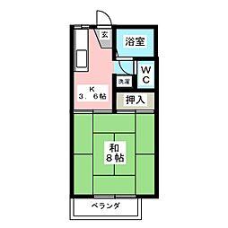 ファミーユ椌木[2階]の間取り