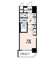 エステムコートディアシティWEST 2階1Kの間取り