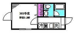 フェリーチェ阿佐ヶ谷L 3階1Kの間取り