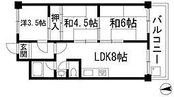 ハイツ多田[1階]の間取り