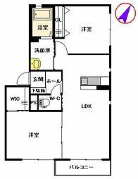 福岡県福岡市博多区月隈6丁目の賃貸アパートの間取り