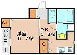 パピヨン箱崎宮前[3階]の間取り