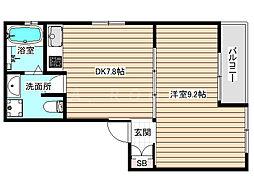 野田3丁目共同住宅 2階1DKの間取り