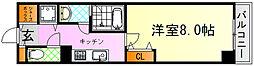 JR芸備線 矢賀駅 徒歩13分の賃貸マンション 8階1Kの間取り