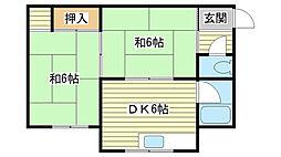 網干アパート[2号室]の間取り
