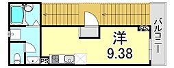 シャルマン神戸三宮 2階ワンルームの間取り