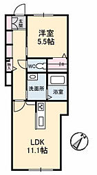 JR宇野線 妹尾駅 徒歩19分の賃貸アパート 1階1LDKの間取り